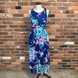 Blue Floral Sleeveless Maxi Dress Size Small